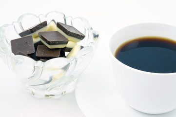 Creamy chocolate pieces with coffee.