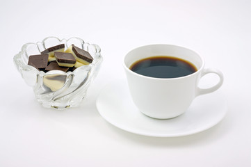 Coffee and white and dark chocolate for a great break.
