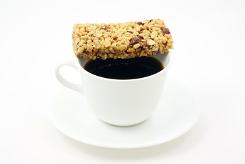Coffee with an energy bar.