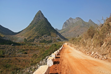 Road through karst mountains