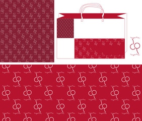 Pattern cherry together bag logotype