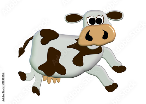3D Moo Cow Cartoon - Isolated On White