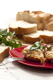 Roasted chicken in butter with bread and greenery poster
