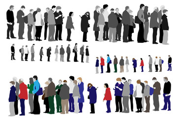 illustration of people waiting in queue