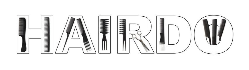 hairdo concept, combs used to write HAIRDO