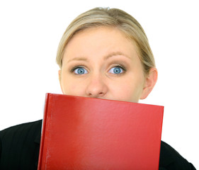 Stressed Caucasian Female Holding Blank Book