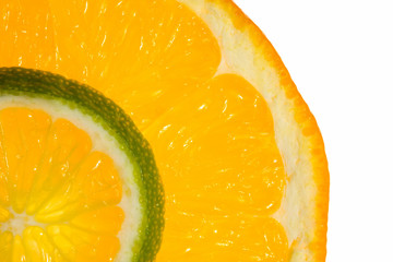 Macro of orange and lime slices