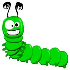 3d Cartoon Caterpillar - Isolated On White