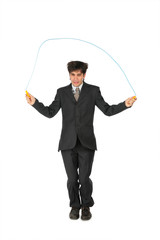 Businessman, who jumps through  jumping rope