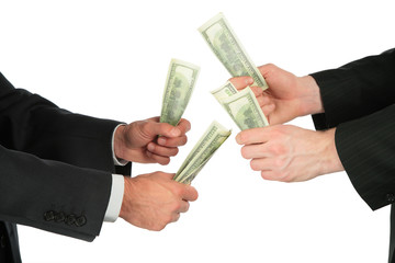 businessmen with dollars in hands
