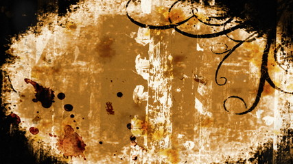 Grunge brown ornamental vignette - digital animation