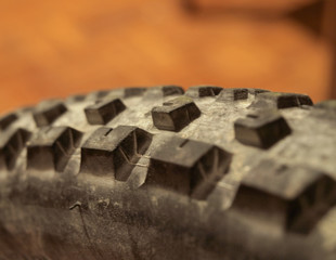 Close up of mountain bike tire