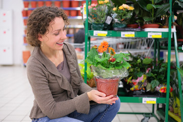 Young woman holds pot with flower in shop