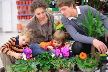 Family in flower shop