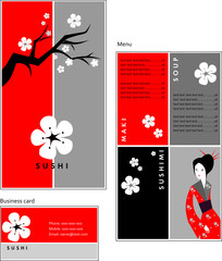 Template designs of menu and business card for sushi bar