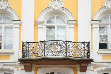 Baroque balcony on  facade of house