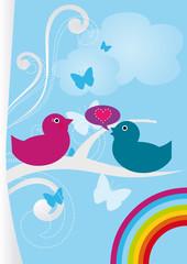 Romantic couple of birds. Vector illustration.