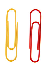 Two paper clips on white