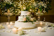 Wedding cake on the decorated table - 11930808
