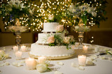 Wedding cake on the decorated table