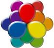 fleur chromatique en 3d avec les couleurs de la gamme