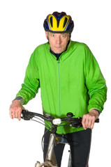 Elderly biking man