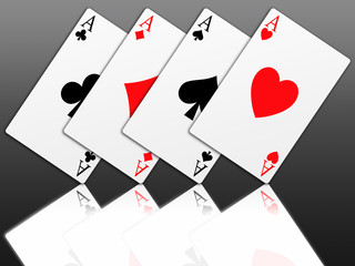 Illustration of the four aces signs of poker on black background