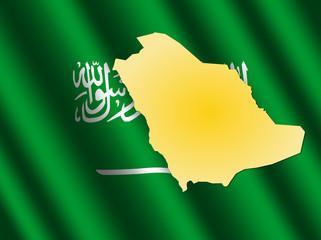 Saudi Arabia map on flag