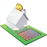 Fototapety Maison blanche et investissement dans la géothermie(détouré)
