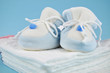 Blue Baby Shoes on Cotton Diapers