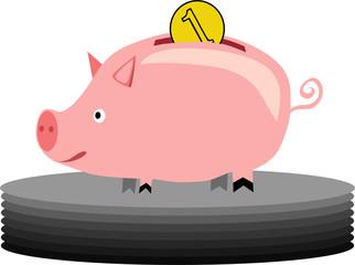 pink piggybank - vector