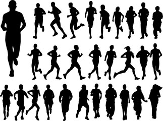 big collection of running people - vector