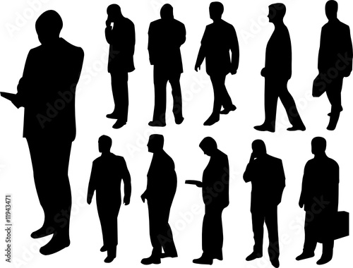 business man silhouette collection - vector