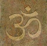 Om symbol engraved on stone poster