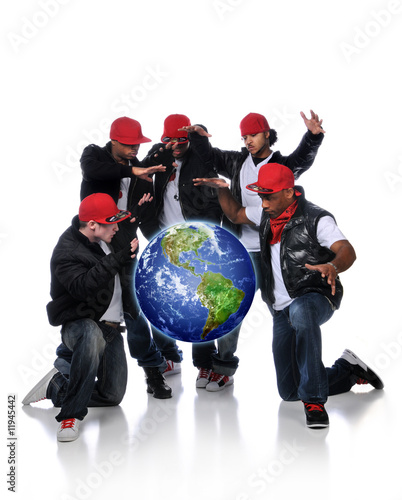 Hip Hop Men With Earth Suspended