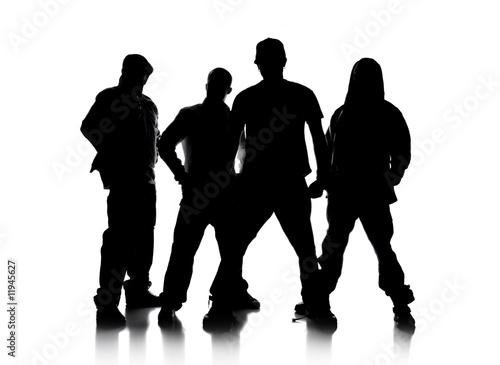 Silhouettes of Men Standing