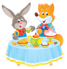 Rabbit and Fox at table