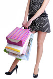 unrecognizable female person holding shopping bags poster