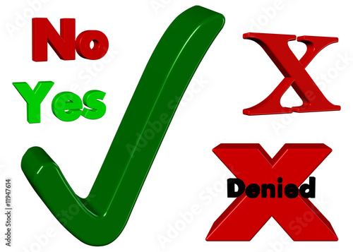 3D Icons - Yes, No, Green Tick, Red Crosses - Isolated