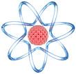Atom with orbits. 3D image.