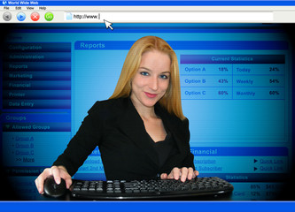 Woman in Computer Screen