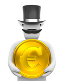 Gentleman and eur coin. poster