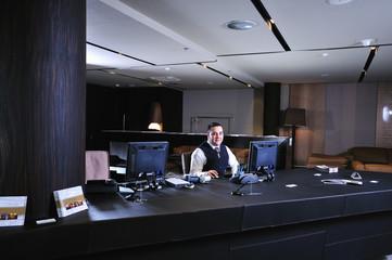 recetion man in hotel