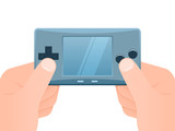 Hands holding portable games console poster