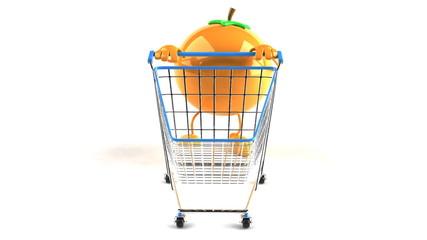 Orange avec un caddie