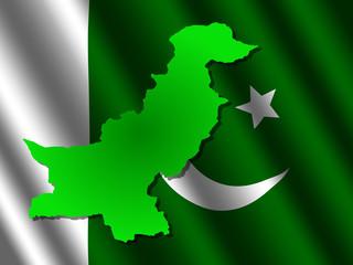 Pakistan map on flag