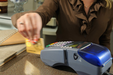 Payment by a credit card.