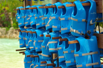 hanging blue lifejackets