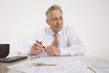 Man Working on Taxes