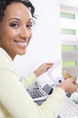 Woman Calculating Finances